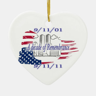 9-11 10th Anniversary Commemorative Double-Sided Heart Ceramic Christmas Ornament