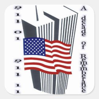 9-11 10th Anniversary Commemorative Square Stickers