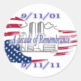 9-11 10th Anniversary Commemorative Classic Round Sticker