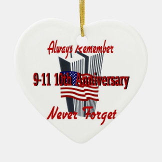 9-11 10th Anniversary Remembrance Double-Sided Heart Ceramic Christmas Ornament