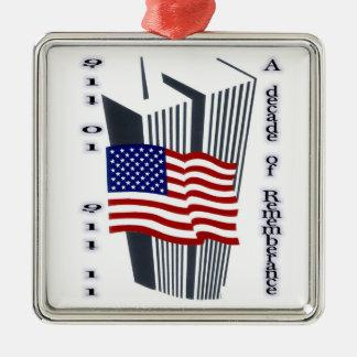 9-11 10th Anniversary Remembrance Square Metal Christmas Ornament