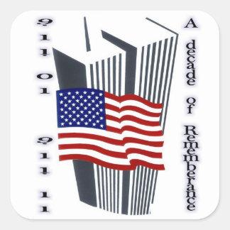 9-11 10th Anniversary Remembrance Square Sticker