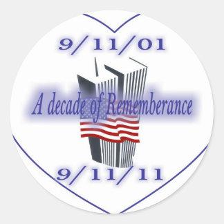 9-11 10th Anniversary Remembrance Classic Round Sticker