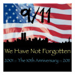 9/11 10th Anniversary WTC and the Flag Poster