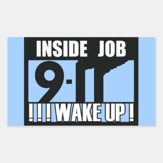 9-11 INSIDE JOB WAKE UP - 911 truth, truther Rectangular Sticker
