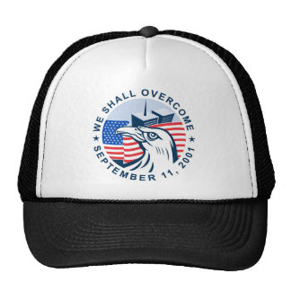 9/11 memorial american eagle flag twin towers trucker hats