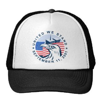 9/11 memorial american eagle flag twin towers mesh hat