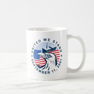 9/11 memorial american eagle flag twin towers mug