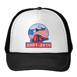 9/11 memorial american flag twin towers fireman hat