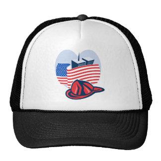 9/11 memorial american flag twin towers  fireman mesh hat