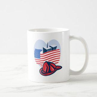9/11 memorial american flag twin towers  fireman mug