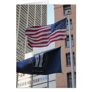 9/11 Memorial Flags Greeting Card
