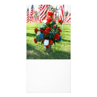 9-11 Memorial Flowers and USA Flags Customized Photo Card