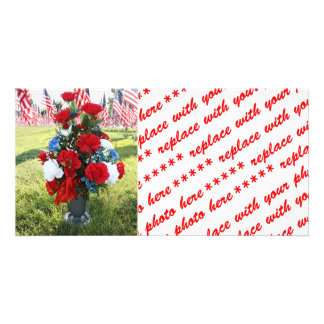 9-11 Memorial Flowers & USA Flags Photo Greeting Card
