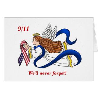 9/11 Memorial Ribbon Angel Greeting Card