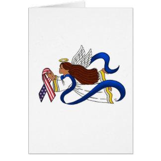 9/11 Memorial Ribbon, Ethnic Angel Greeting Card