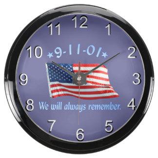 9-11 Memorial We Will Always Remember Fish Tank Clock