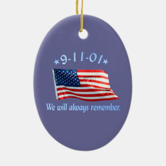 9-11 Memorial We Will Always Remember Christmas Tree Ornament