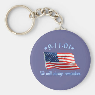 9-11 Memorial We Will Always Remember Basic Round Button Key Ring