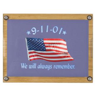 9-11 Memorial We Will Always Remember Rectangular Cheese Board