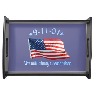 9-11 Memorial We Will Always Remember Serving Tray