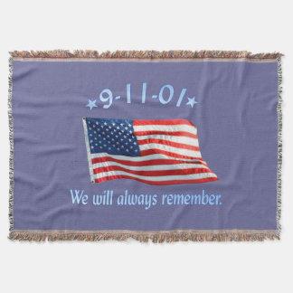9-11 Memorial We Will Always Remember Throw Blanket