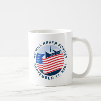 9/11 memorial with american flag and twin towers mug
