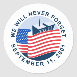 9/11 memorial with american flag and twin towers round sticker