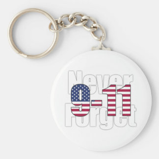 9-11 Never Forget Basic Round Button Key Ring