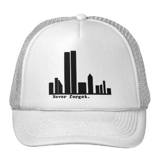 9-11 Never Forget NY Skyline Tshirts, Buttons Trucker Hat