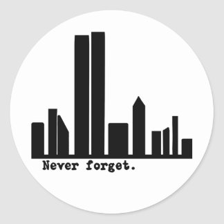9-11 Never Forget NY Skyline Tshirts, Buttons Round Sticker