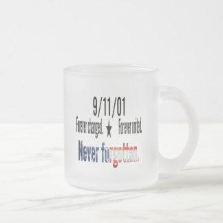 9-11 Never Forgotten Memorial Tribute Frosted Glass Mug