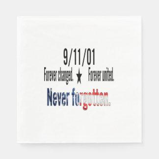 9-11 Never Forgotten Memorial Tribute Disposable Napkin