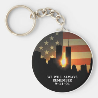 9-11 remember - We will never forget Basic Round Button Key Ring