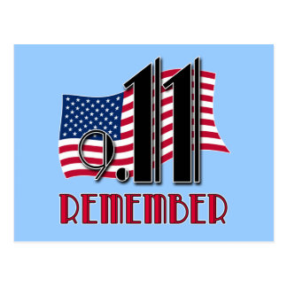 9 11 REMEMBER with American Flag Tshirts Post Card
