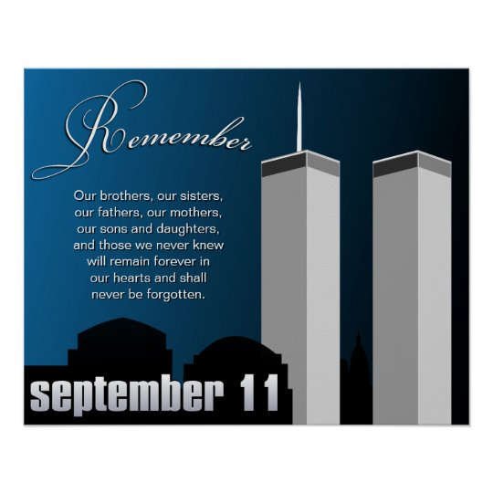 9/11 September 11th - WTC Remembrance Poster