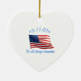 9-11 We Will Always Remember Ceramic Heart Decoration