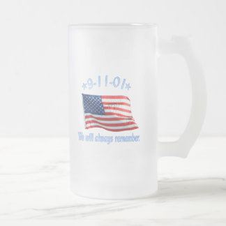 9-11 We Will Always Remember Glass Beer Mugs