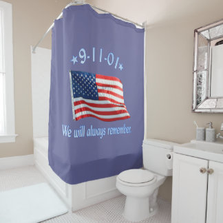 9-11 We Will Always Remember Tribute Shower Curtain