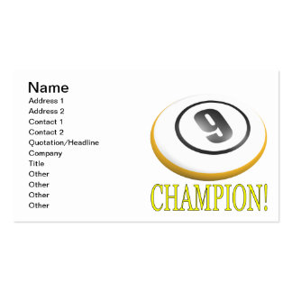 9 Ball Champion Pack Of Standard Business Cards