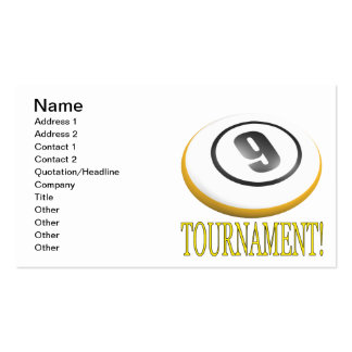 9 Ball Tournament Pack Of Standard Business Cards