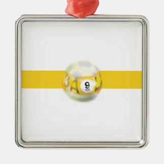 9 Ball Yellow Stripe Christmas Ornament