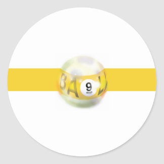 9 Ball Yellow Stripe Classic Round Sticker