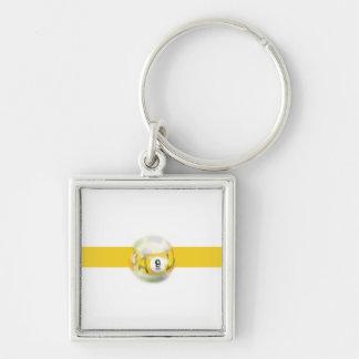 9 Ball Yellow Stripe Key Ring