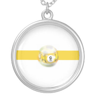 9 Ball Yellow Stripe Silver Plated Necklace