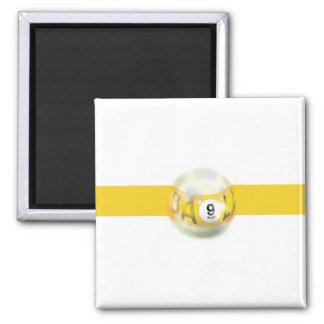 9 Ball Yellow Stripe Square Magnet