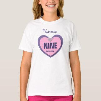 9 Birthday PINK PURPLE Heart WHITE Shirt A03