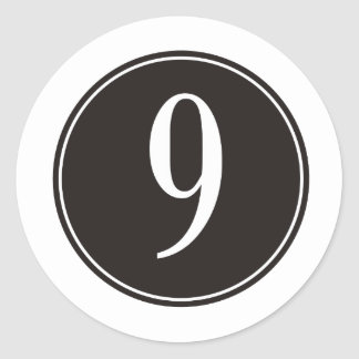 #9 Black Circle Classic Round Sticker