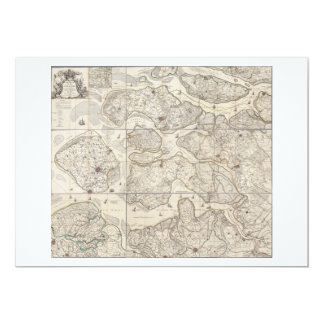 9 bladed map of the province of Zeeland Zealand 13 Cm X 18 Cm Invitation Card