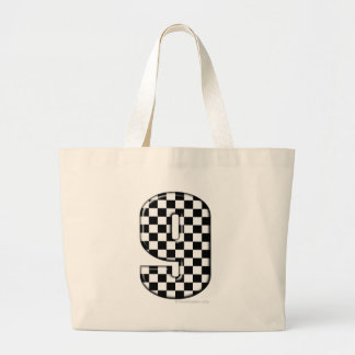 9 checkered auto racing number tote bags